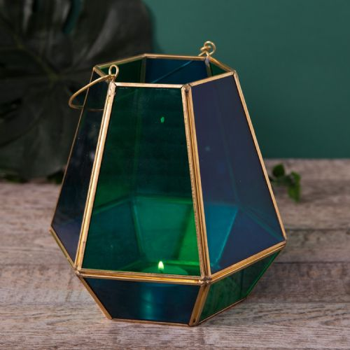 Dark Green and Gold Glass Succulent Planter Terrarium Style Home Decor Accessory